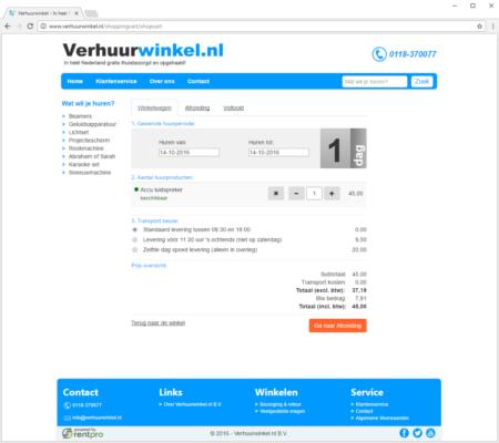 Screenshot verhuurwinkel