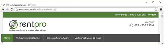 Rentpro.nl voorbeeld goede header